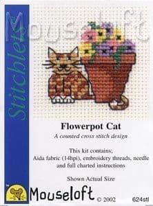 Mouseloft Flowerpot Cat Stitchlets cross stitch kit